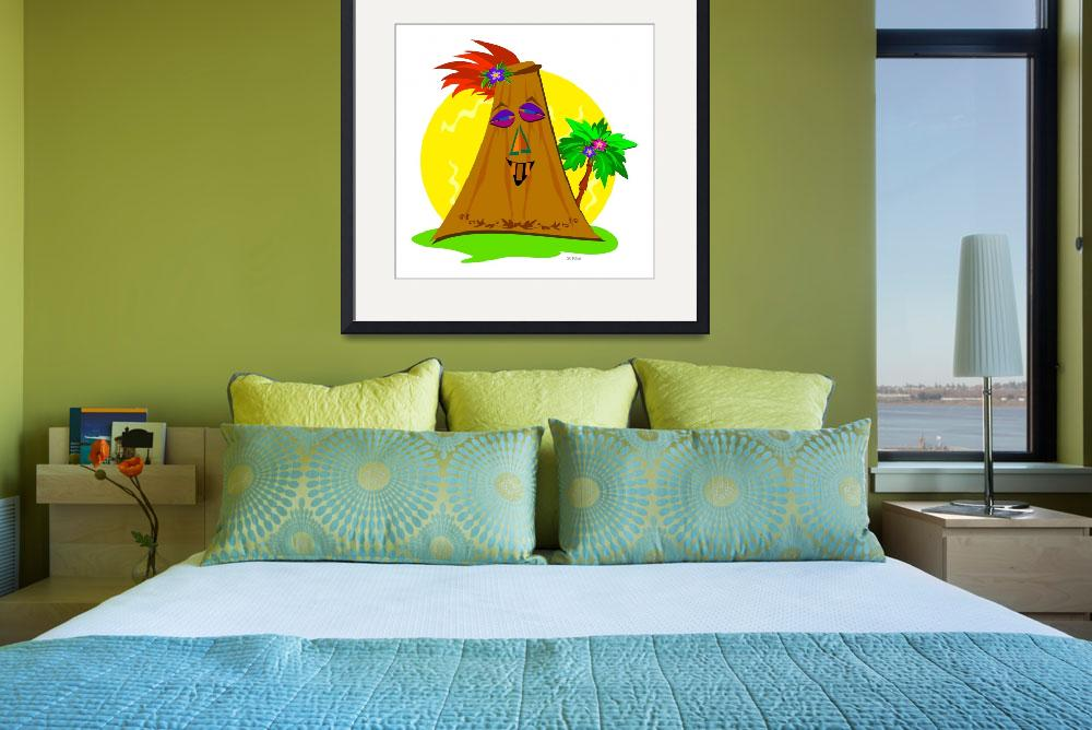 """Stylized Tiki with Palm Tree&quot  (2010) by theblueplanet"