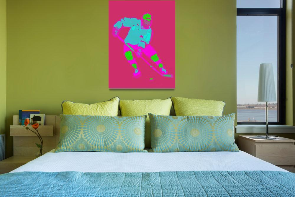 """Hockey Left Wing pink purple green (c)&quot  (2014) by edmarion"