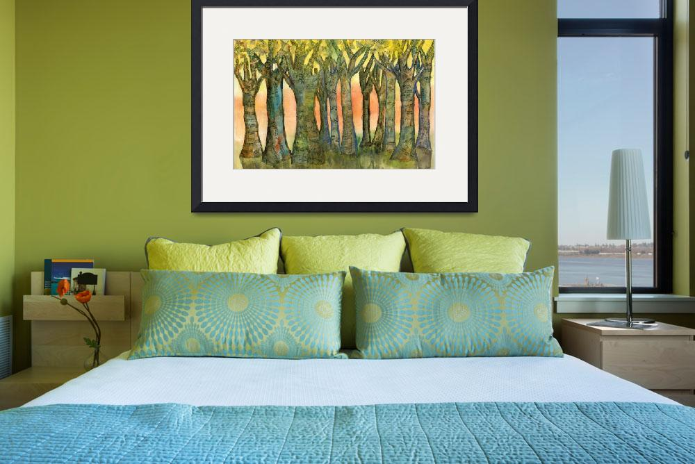 """Sunset Trees, landscape modern collage painting&quot  (2013) by schulmanart"