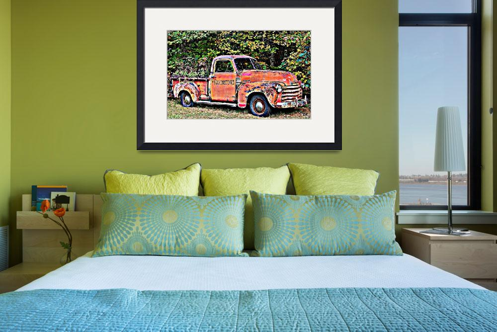 """Antique Chevy Truck Crossing The Color Line&quot  (2010) by crazysuncompany"