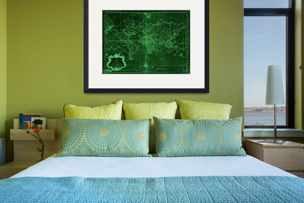 """World Map (1778) Dark Green & Light Green&quot  by Alleycatshirts"