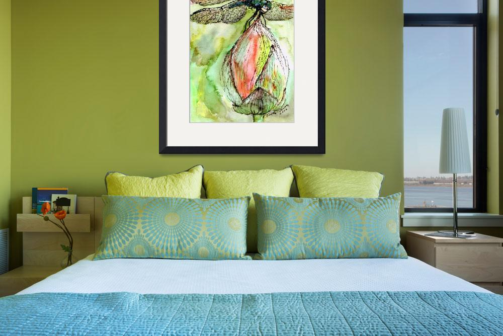 """Dragonfly Watercolor & Ink by Ginette Callaway&quot  (2002) by GinetteCallaway"