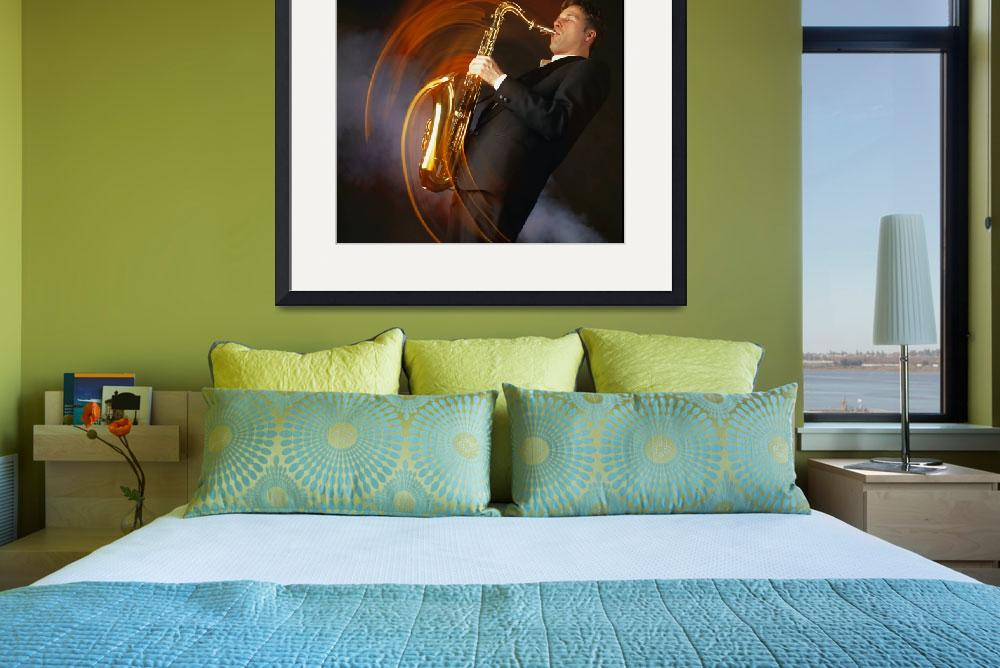 """Man Playing Saxophone&quot  by DesignPics"