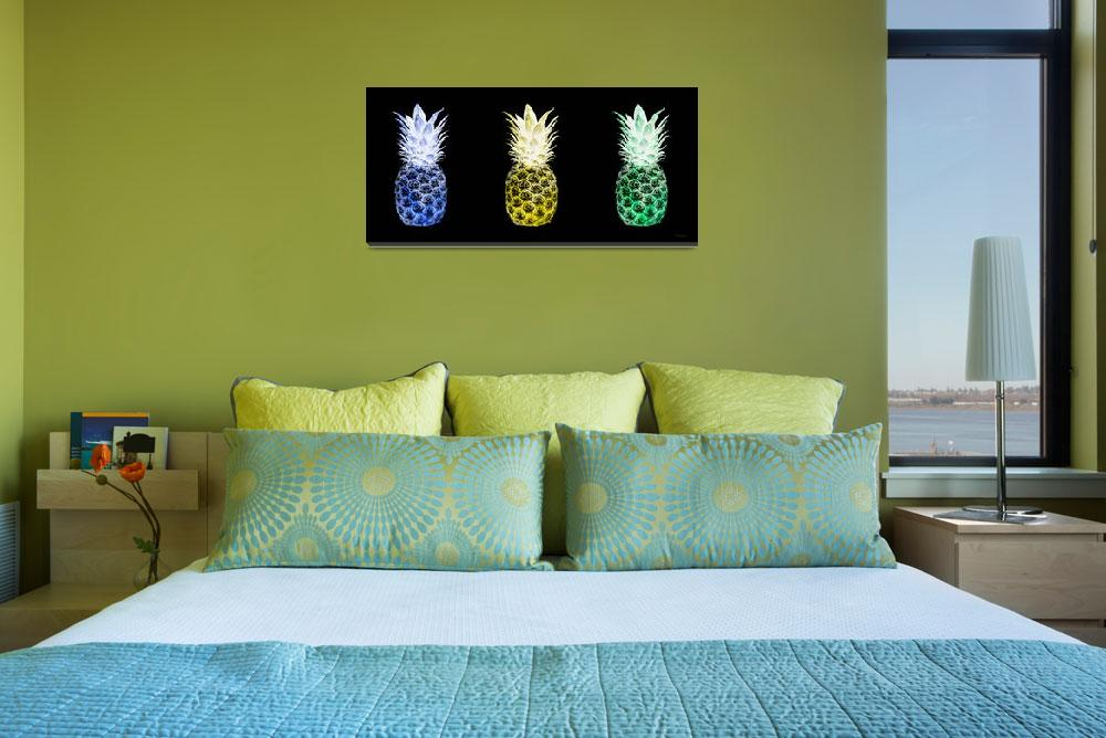 """Triptych 14U Artistic Pineapple Blue Yellow Green&quot  (2016) by Ricardos"