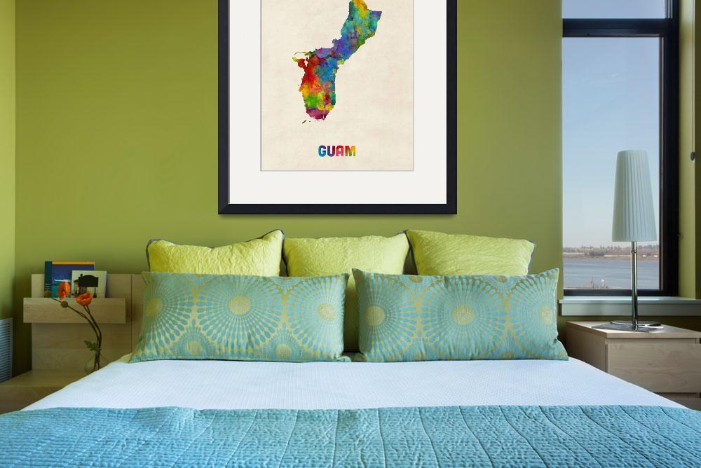 """Guam Watercolor Map&quot  (2016) by ModernArtPrints"