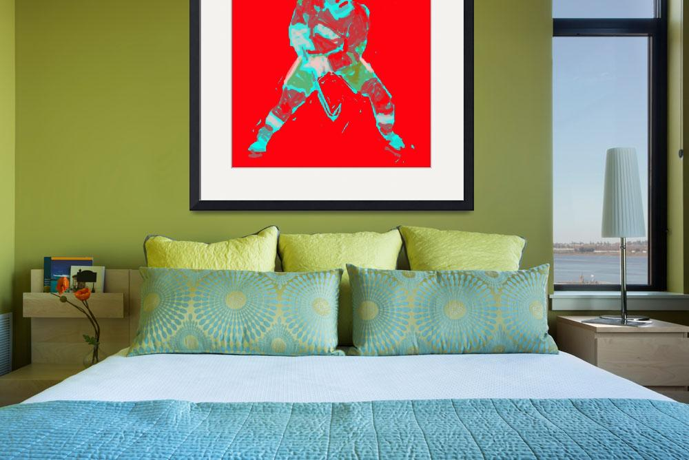 """Hockey Defenseman red green gray (c)&quot  (2014) by edmarion"