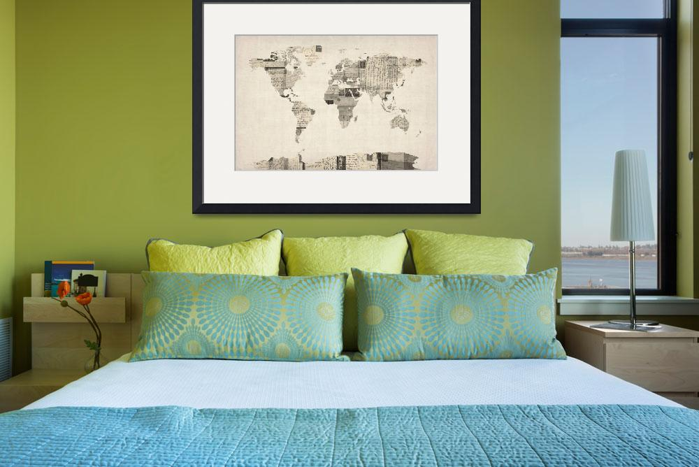 """Map of the World Map from Old Postcards&quot  (2012) by ModernArtPrints"
