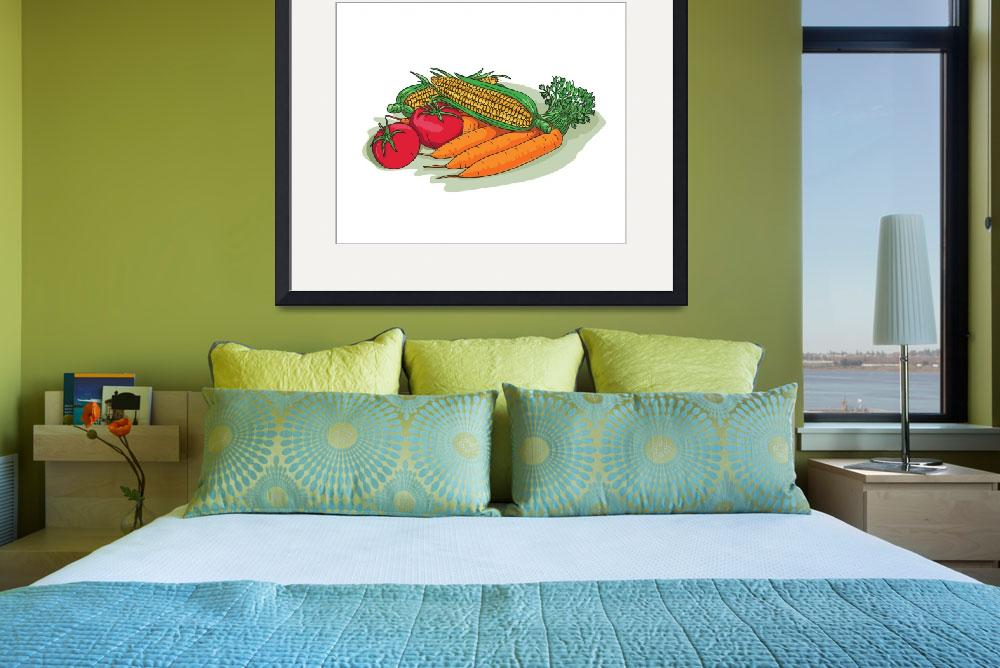 """Vegetable Garden Crop Harvest Drawing&quot  (2016) by patrimonio"