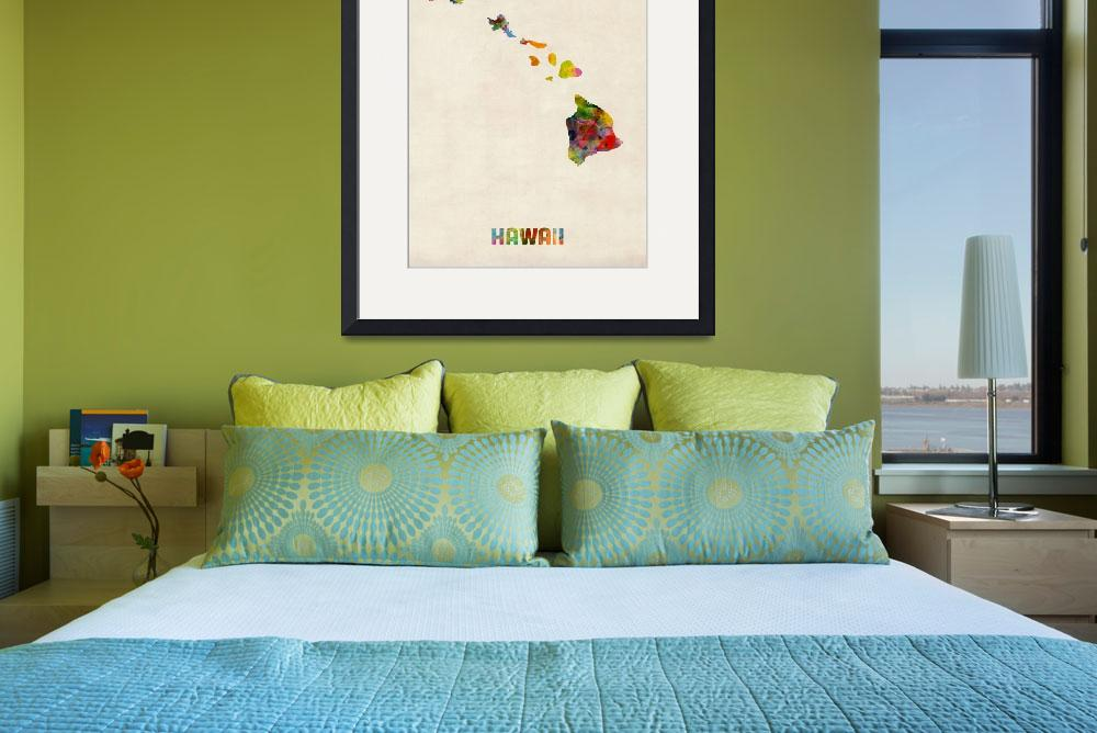 """Hawaii Watercolor Map&quot  (2013) by ModernArtPrints"