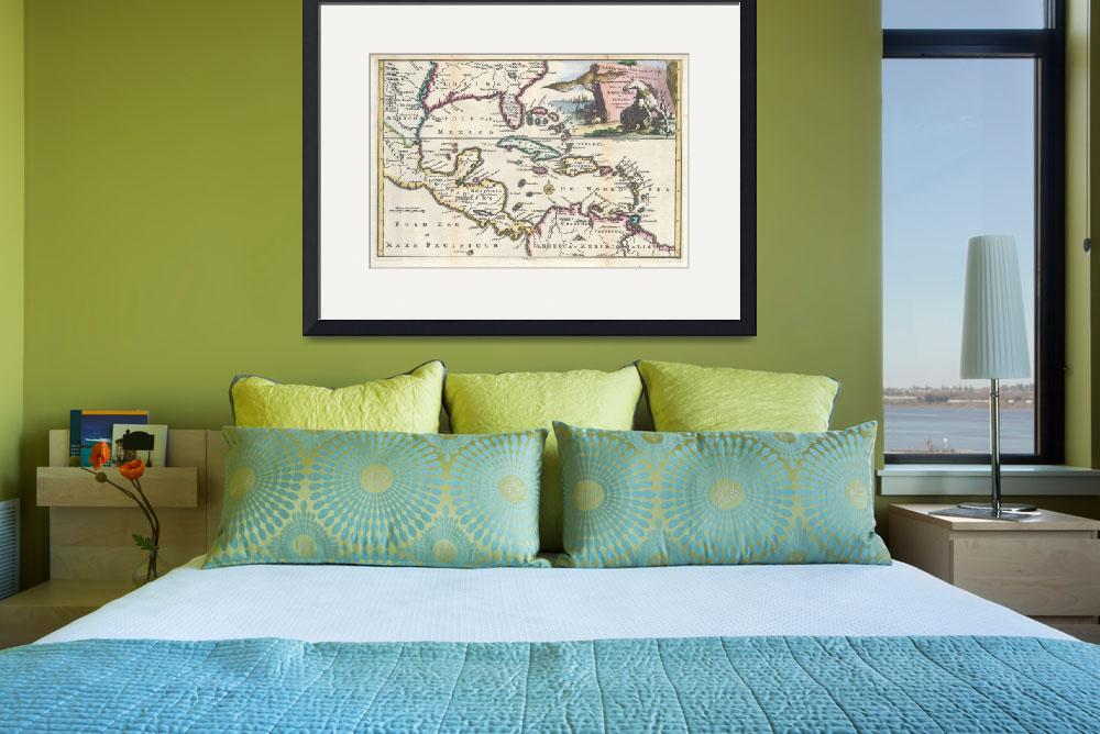 """Vintage Map of The Caribbean (1747)&quot  by Alleycatshirts"