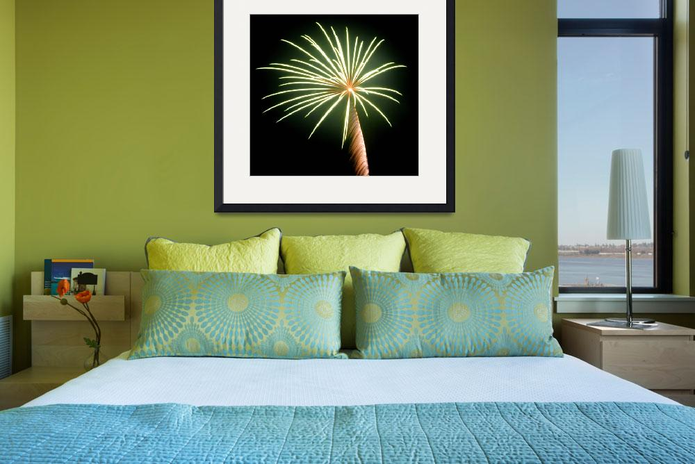 """Green Palm Tree with Golden Trunk&quot  (2012) by budo"