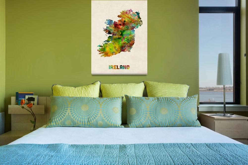 """Ireland Eire Watercolor Map&quot  (2013) by ModernArtPrints"