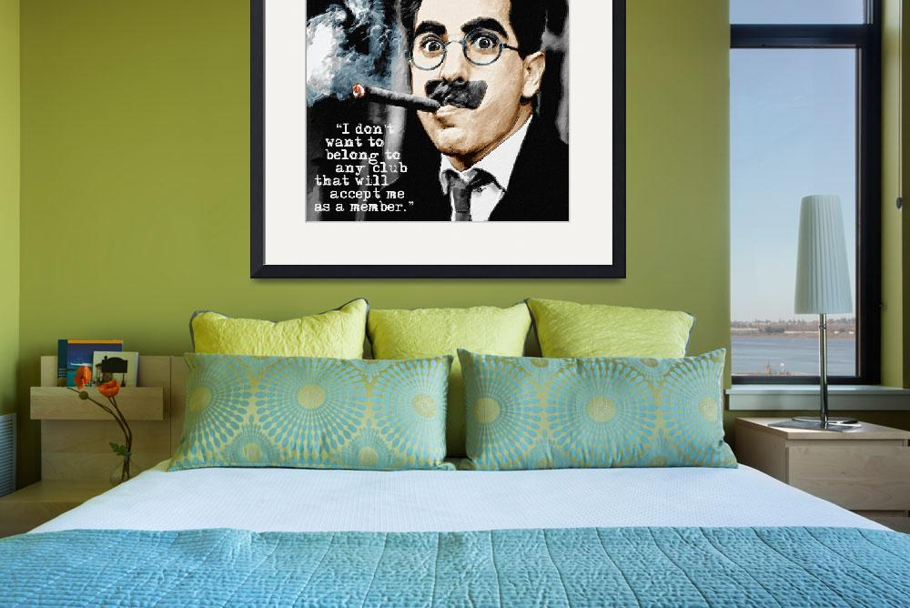 """Groucho Marx And Quote Square&quot  by RubinoFineArt"