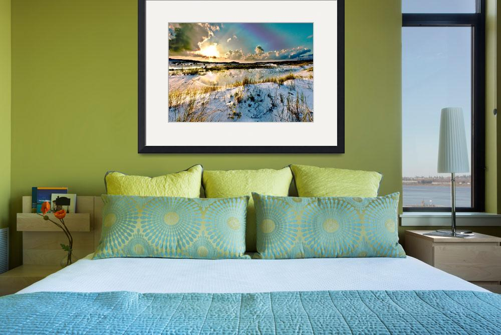 """Yellow Flower Purple Turquoise Sunset Art Prints&quot  (2009) by eszra"