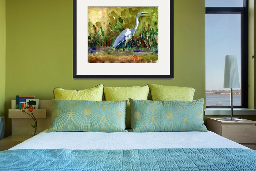 """White Egret, White Bird Watercolor Painting Wildli&quot  (2008) by schulmanart"