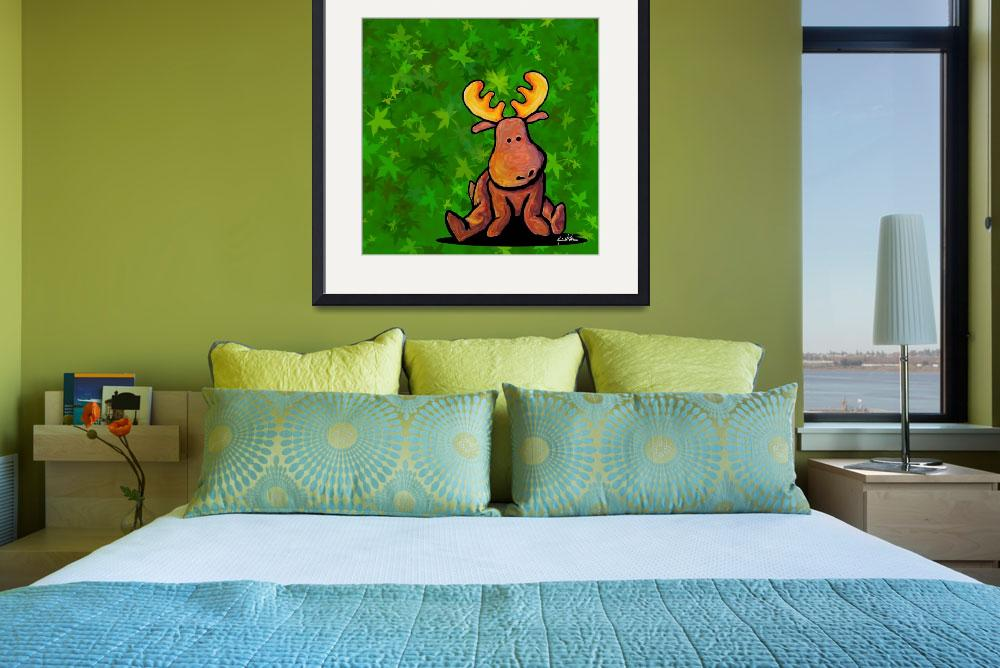 """Groovy Moose On Green&quot  (2004) by KiniArt"