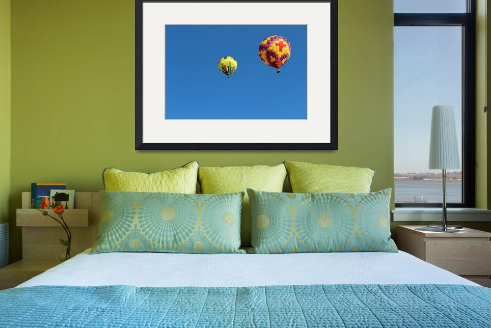 """Two Yellow Hot Air Balloons Horizontal&quot  (2015) by KsWorldArt"