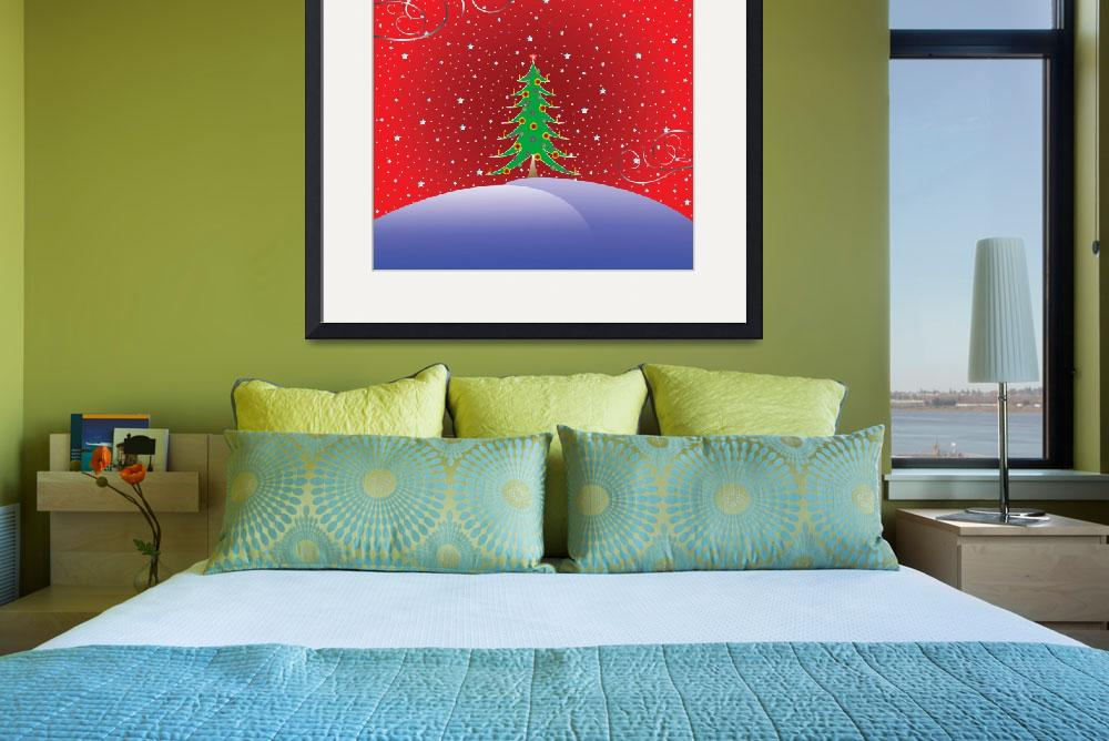"""christmas tree with stars background&quot  by robertosch"