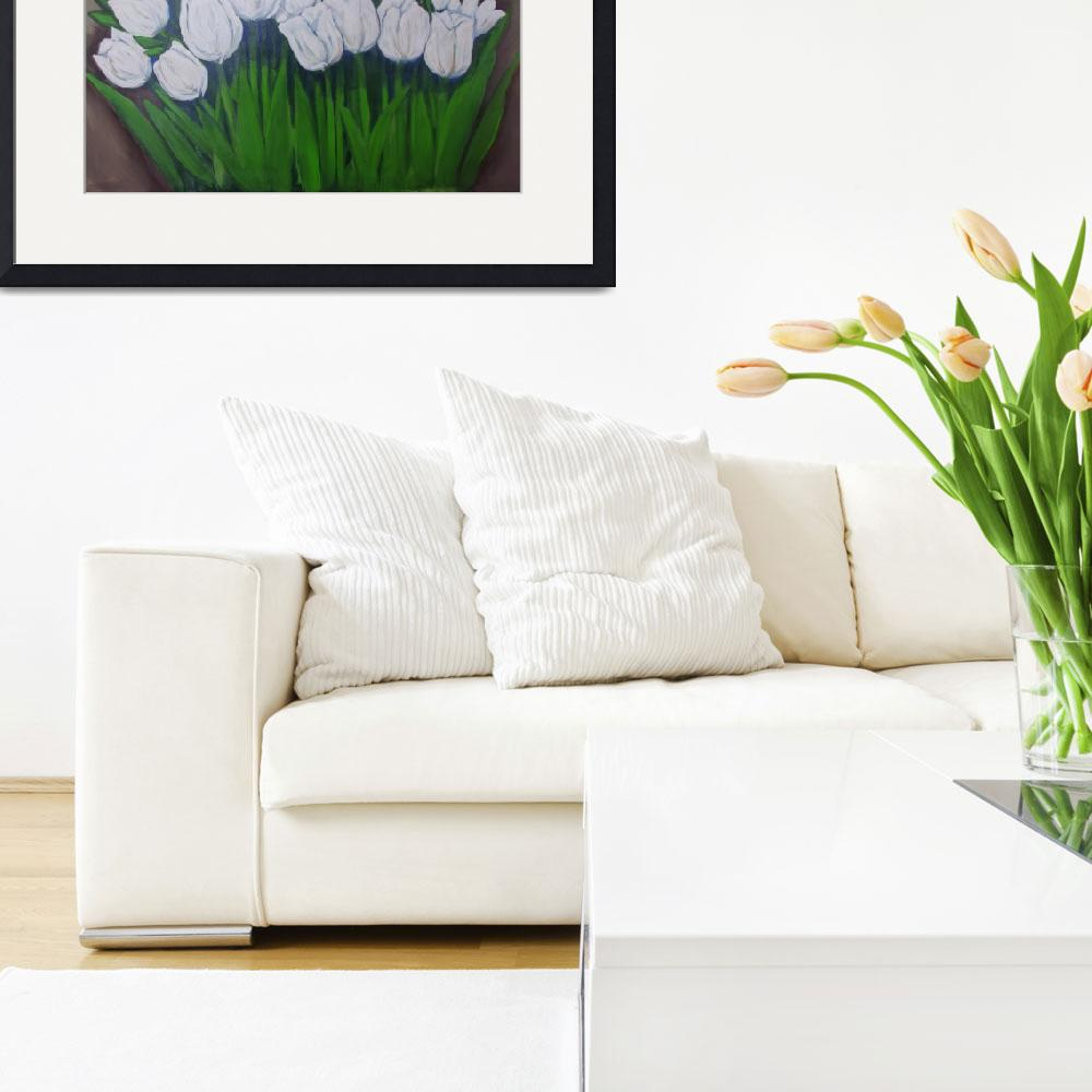 """White Tulip painting2&quot  by ArtisticExpressionbyLinda"
