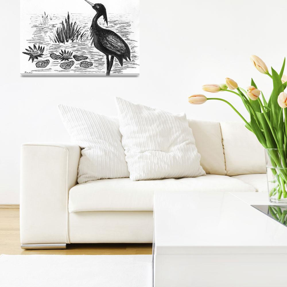 """Crowned Night Heron Lily Pond Paradise in Ink D1&quot  (2015) by Ricardos"