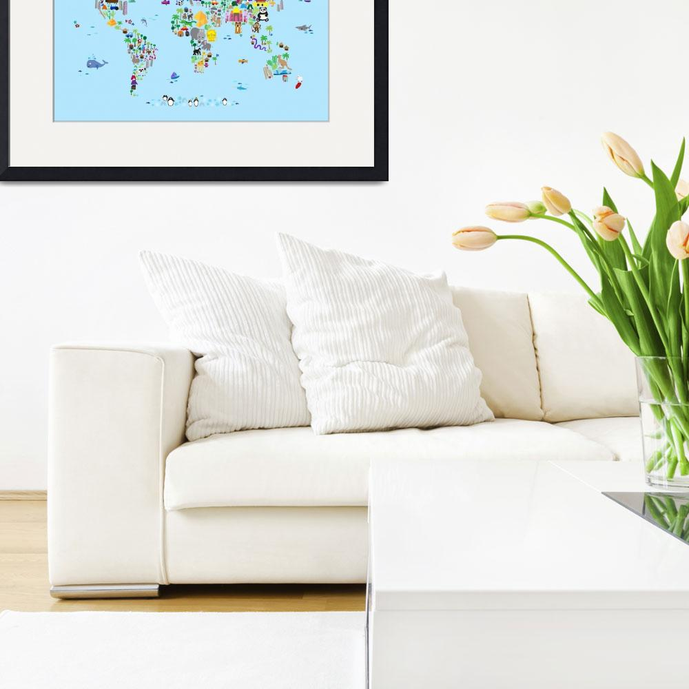 """Animal Map of the World for children and kids&quot  by ModernArtPrints"