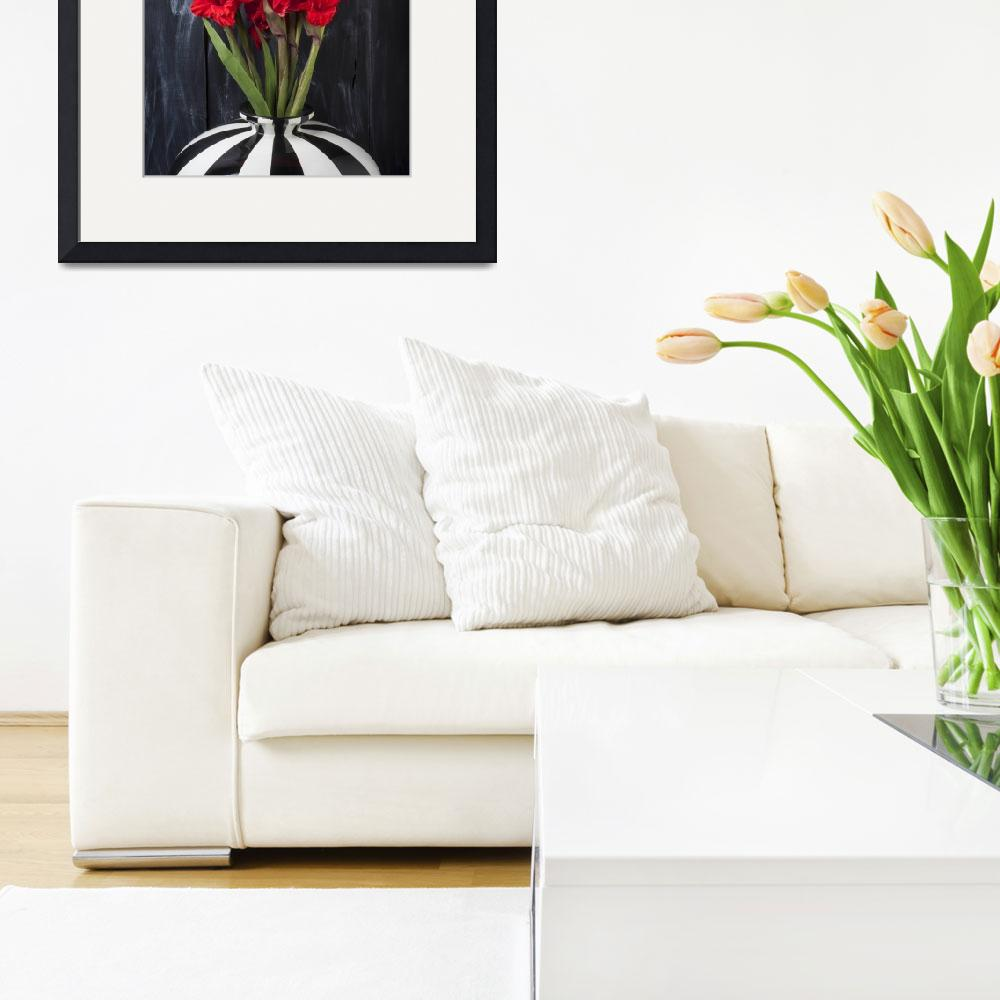 """Red gladiolus in striped vase&quot  (2012) by photogarry"