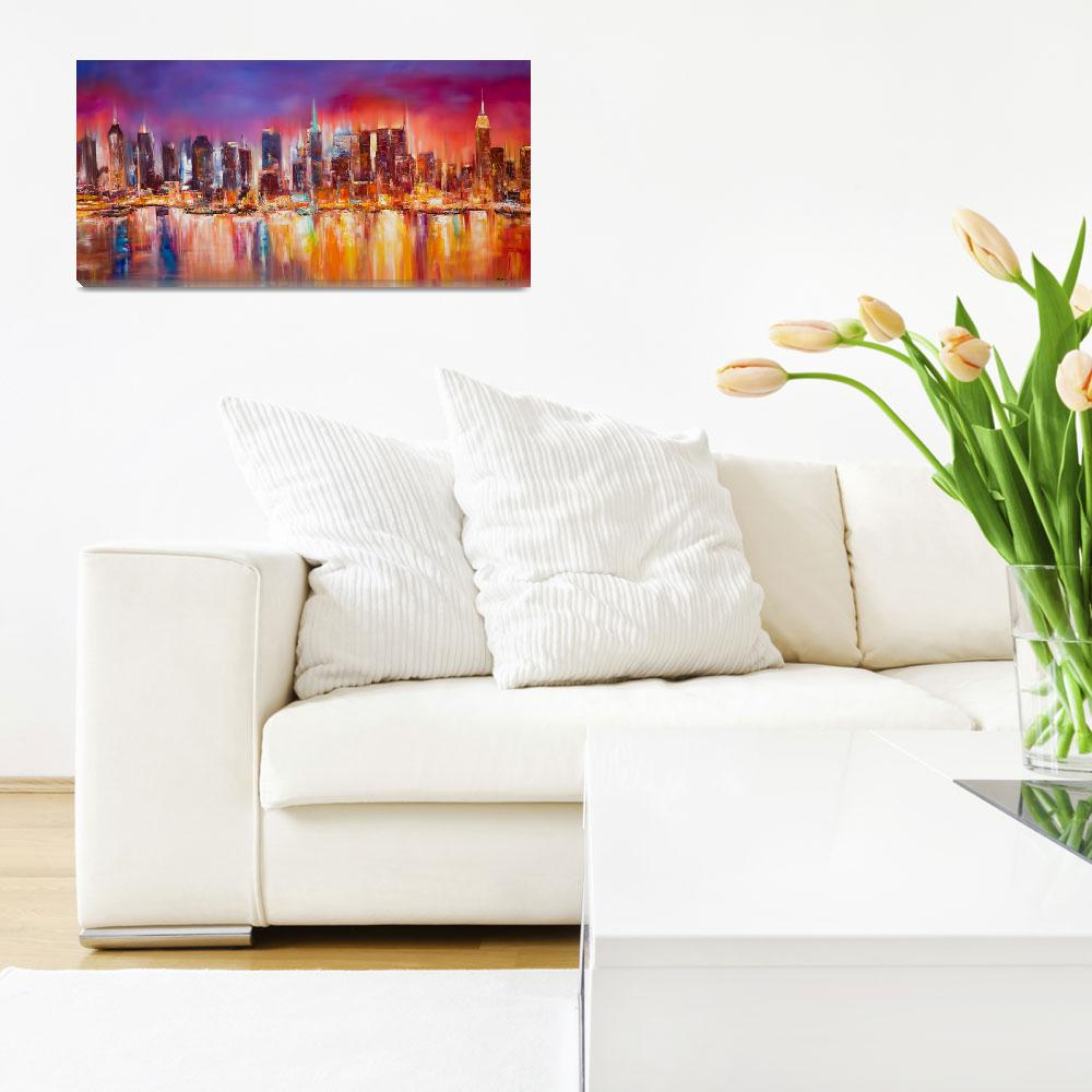 """Vibrant New York City Skyline&quot  (2012) by citywallart"