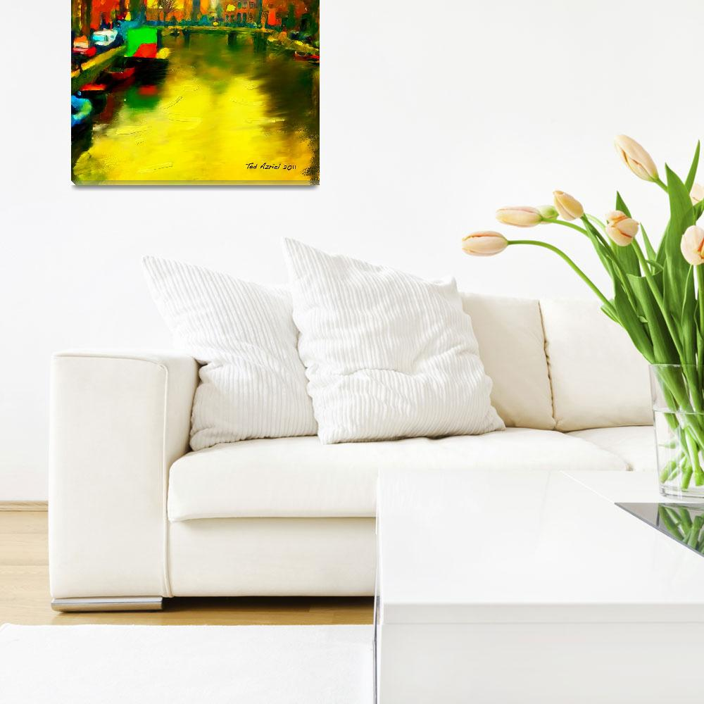 """Amsterdam Canal, Digital oil painting&quot  (2011) by tedazrielgraphicart"