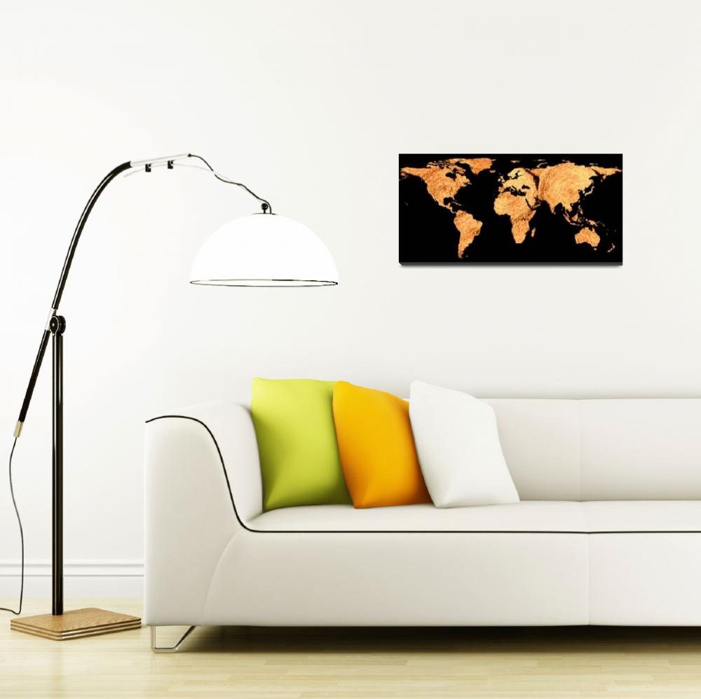 """World Map Silhouette - Bales of Hay&quot  by Alleycatshirts"