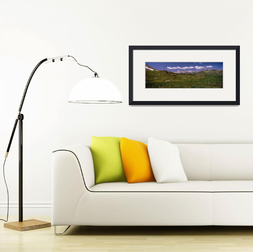 """Grassland with a mountain range in the background&quot  by Panoramic_Images"