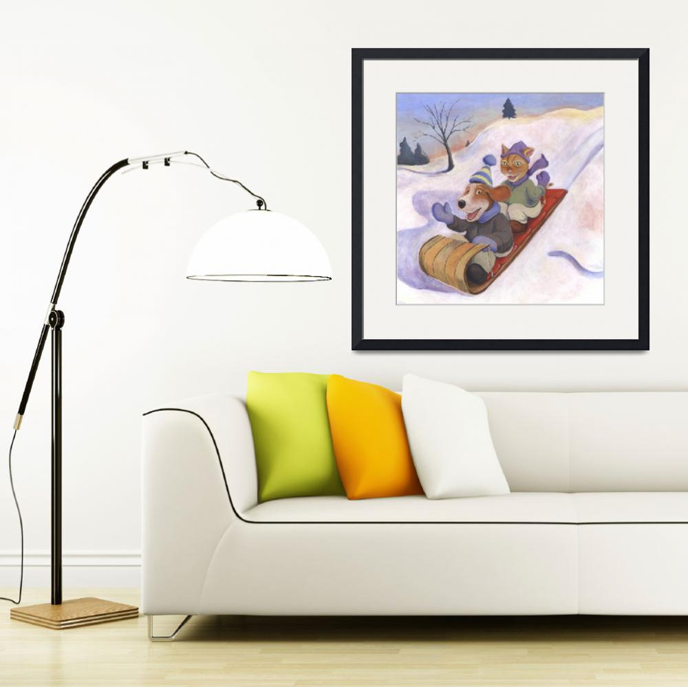 """Dog and Cat Go Sledding by Matthew Finger&quot  (2001) by MattO68"