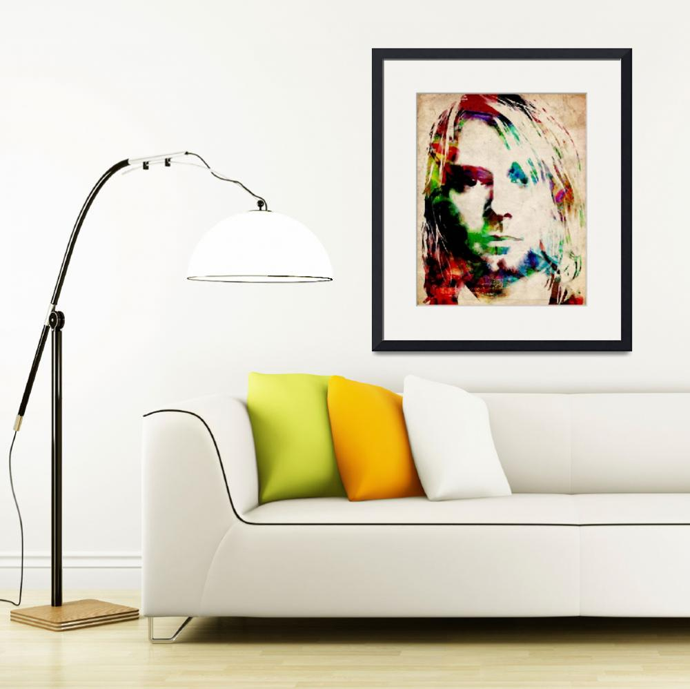 """Kurt Cobain Urban Watercolor&quot  (2009) by ModernArtPrints"