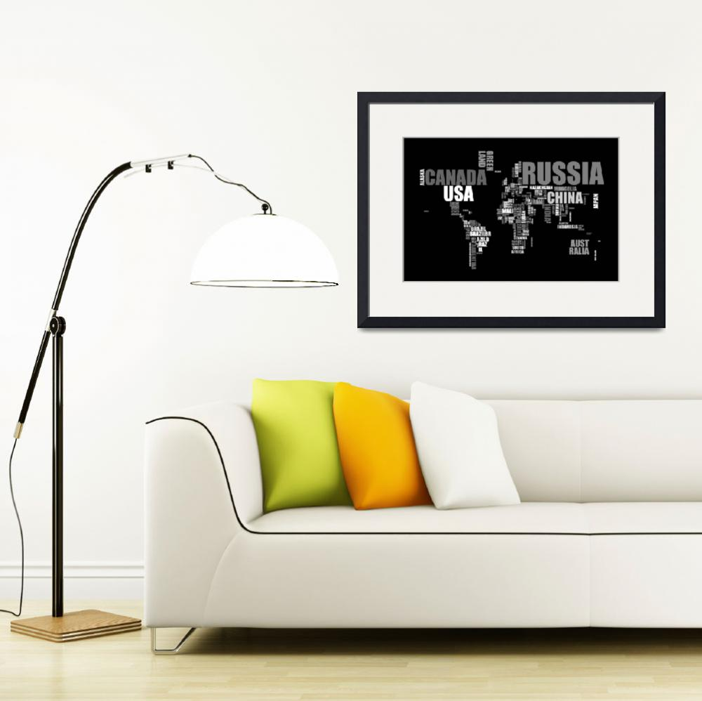 """World Map in Words&quot  (2011) by ModernArtPrints"