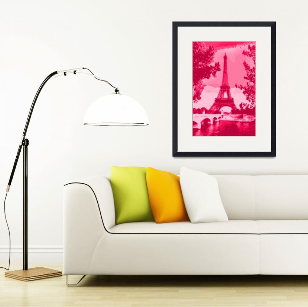 """Eiffel Tower Seine River enhanced dark pink red&quot  by TheNorthernTerritory"