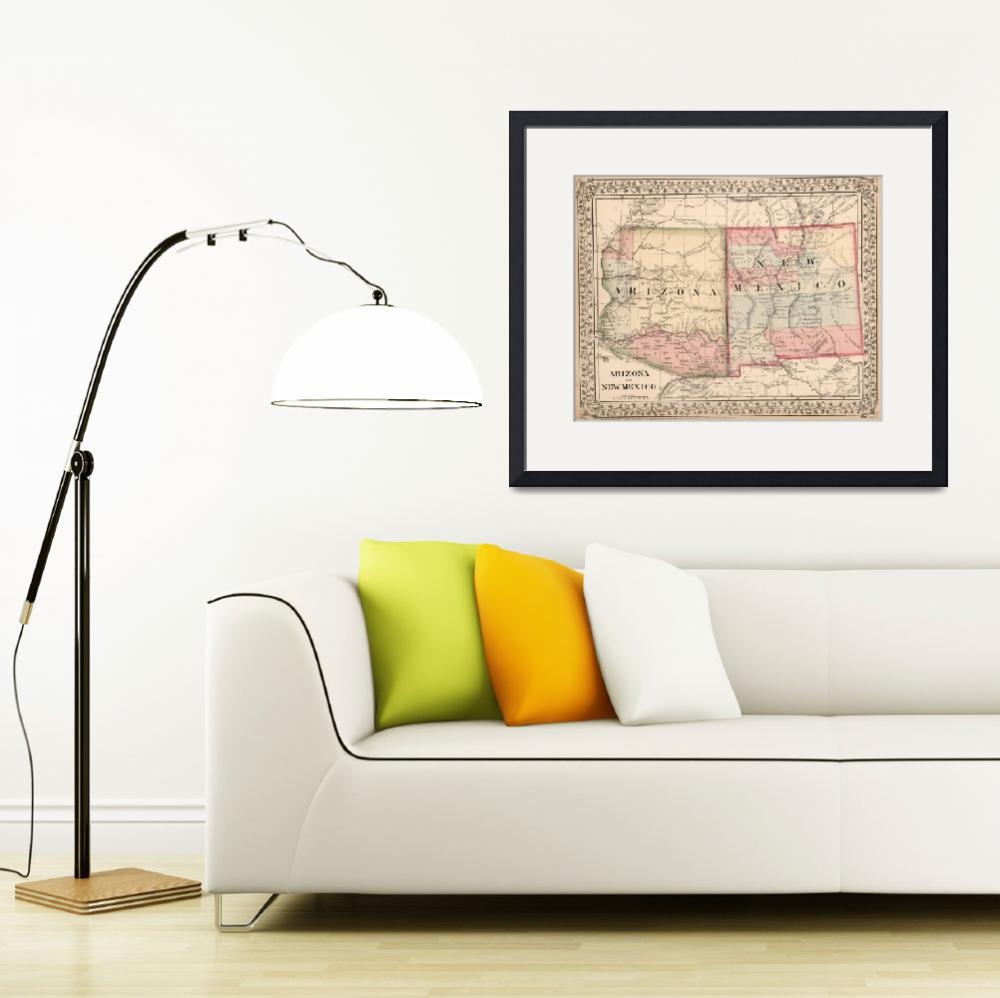 """Vintage New Mexico and Arizona Map (1868)&quot  by Alleycatshirts"