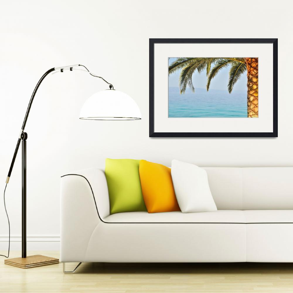 """Palm tree with sea in background&quot  (2013) by creative_photography"