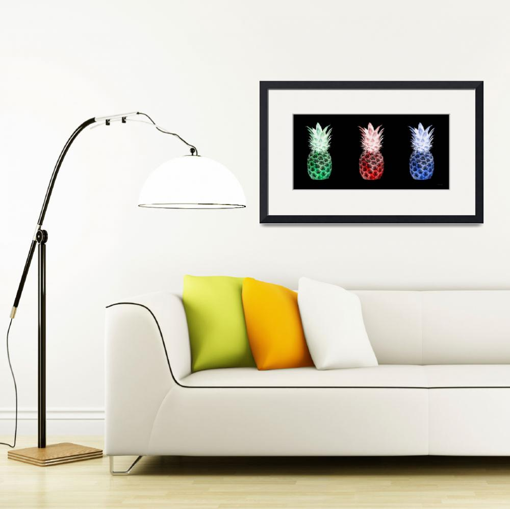 """Triptych 14M2 Artistic Pineapples Green Red Blue&quot  (2016) by Ricardos"