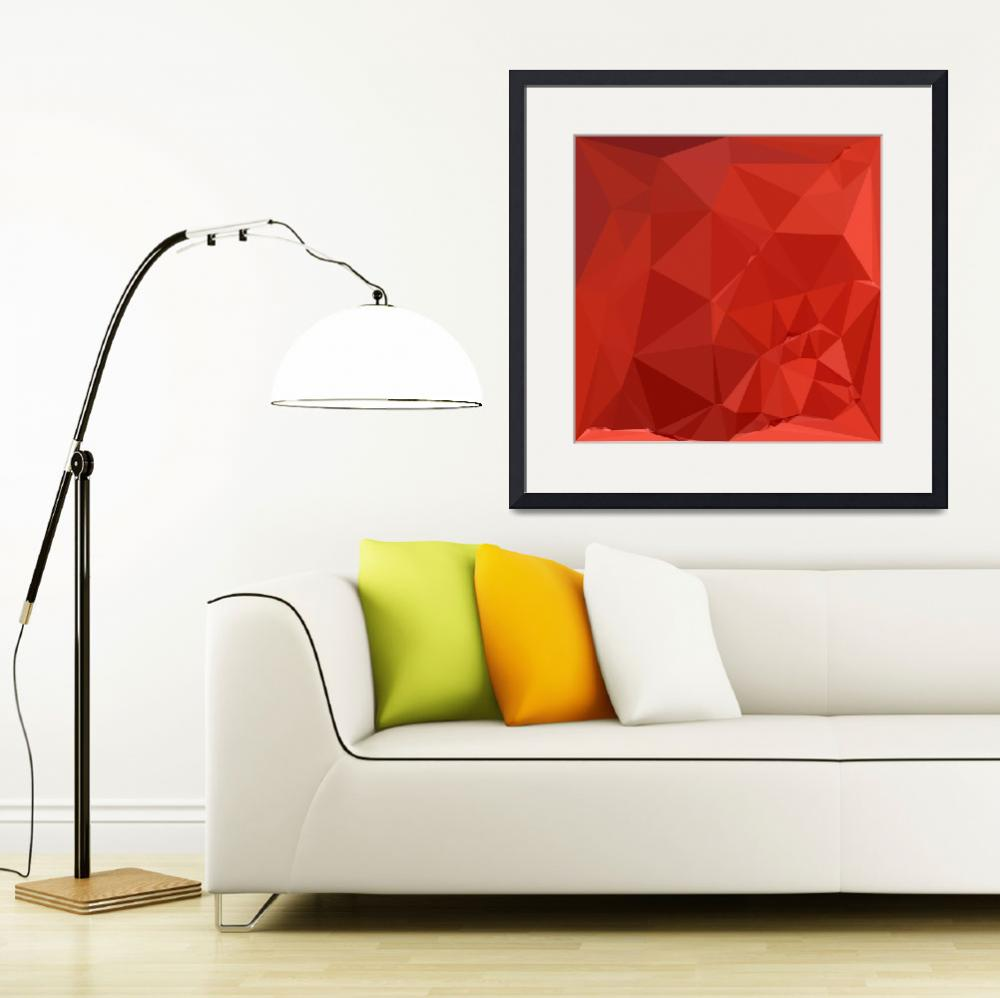"""American Rose Red Abstract Low Polygon Background&quot  (2016) by patrimonio"