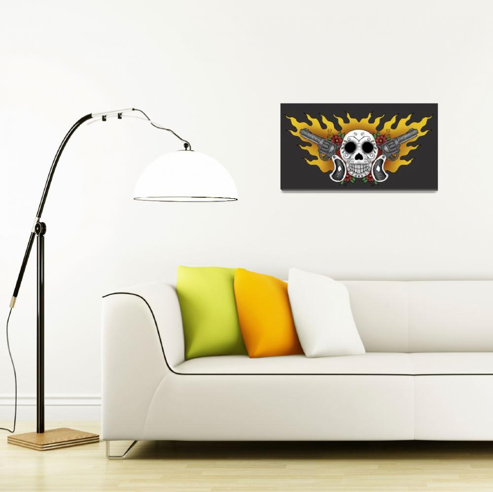 """guns and skull print post&quot  by luther"