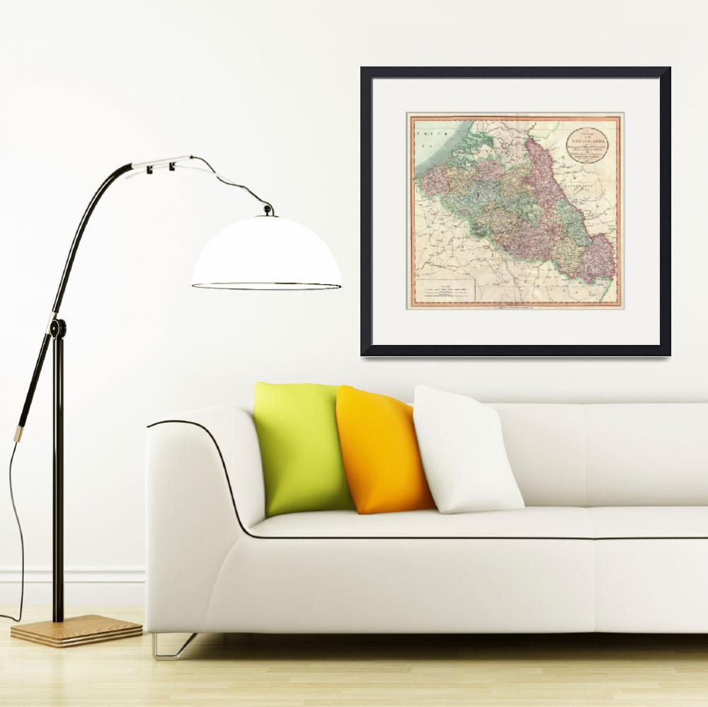 """Vintage Map of Belgium & Luxembourg (1804)&quot  by Alleycatshirts"