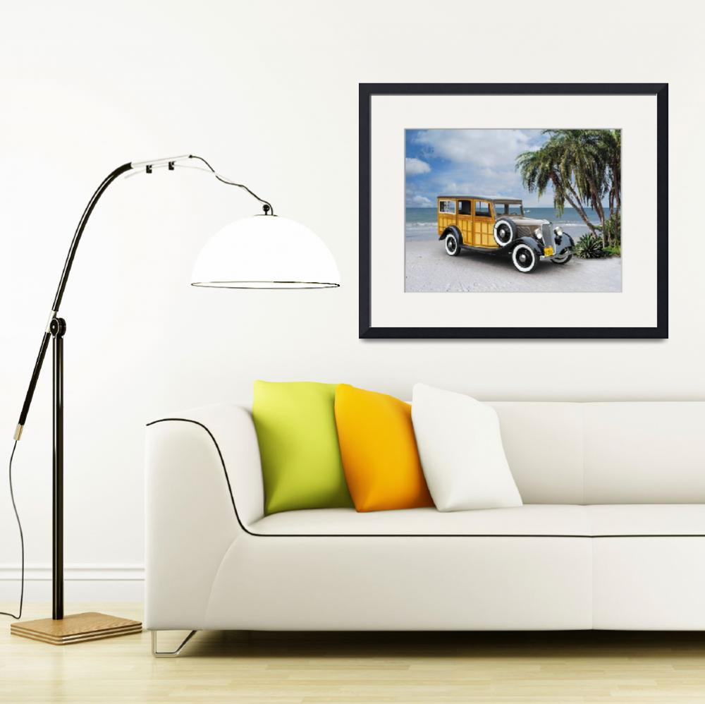 """1933 Ford Woodie on Beach&quot  by minnron37"