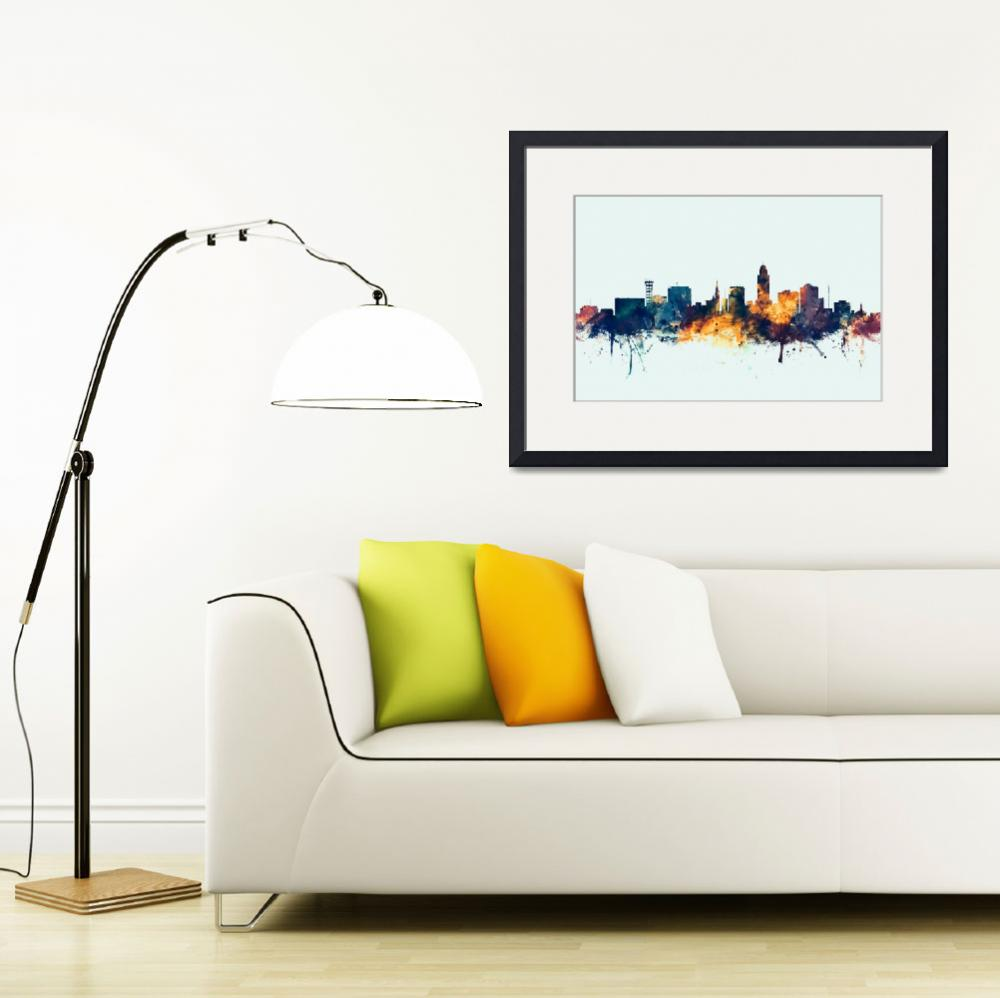 """Lincoln Nebraska Skyline&quot  (2015) by ModernArtPrints"