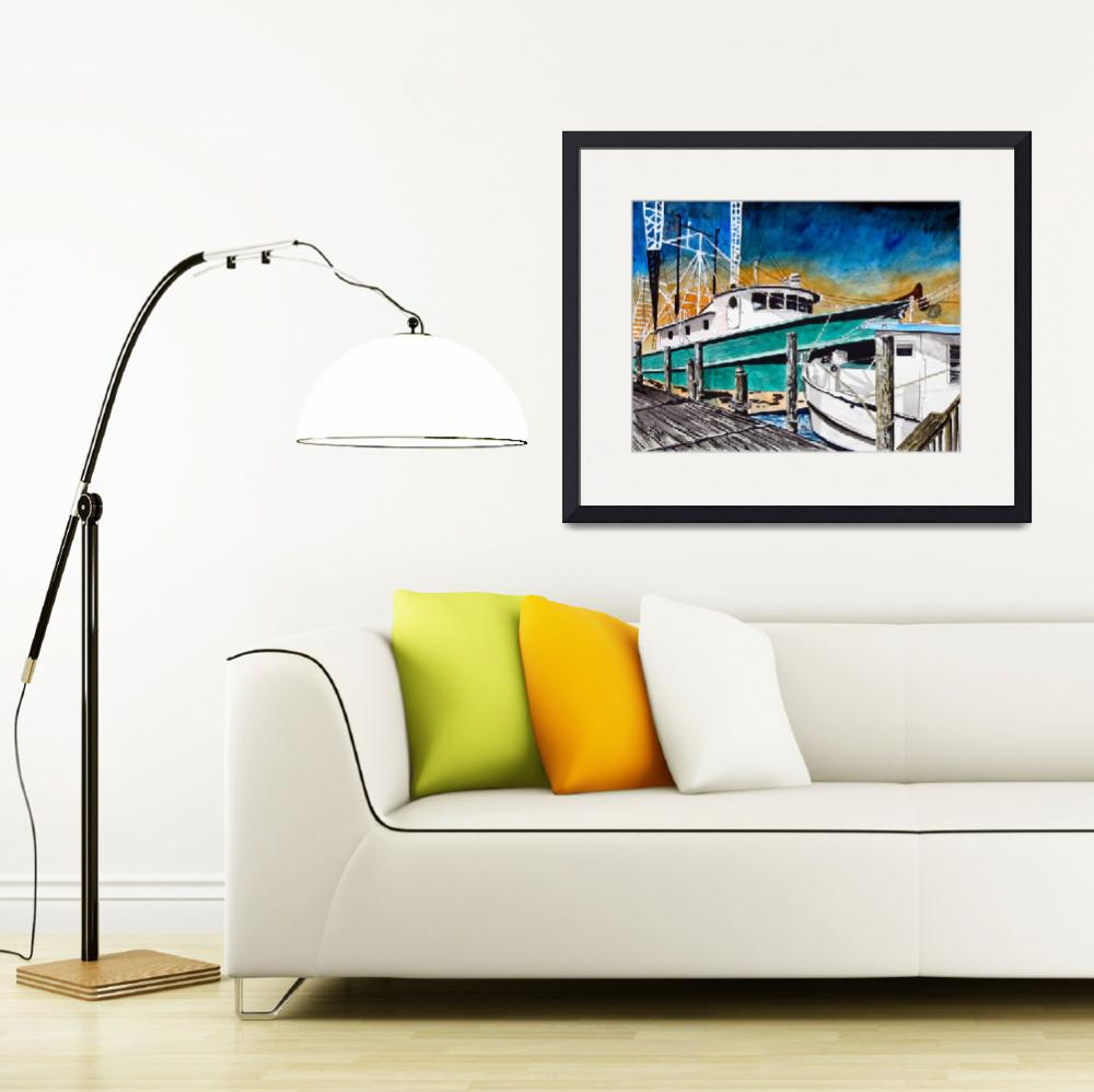 """shrimp boat painting art print&quot  (2013) by derekmccrea"