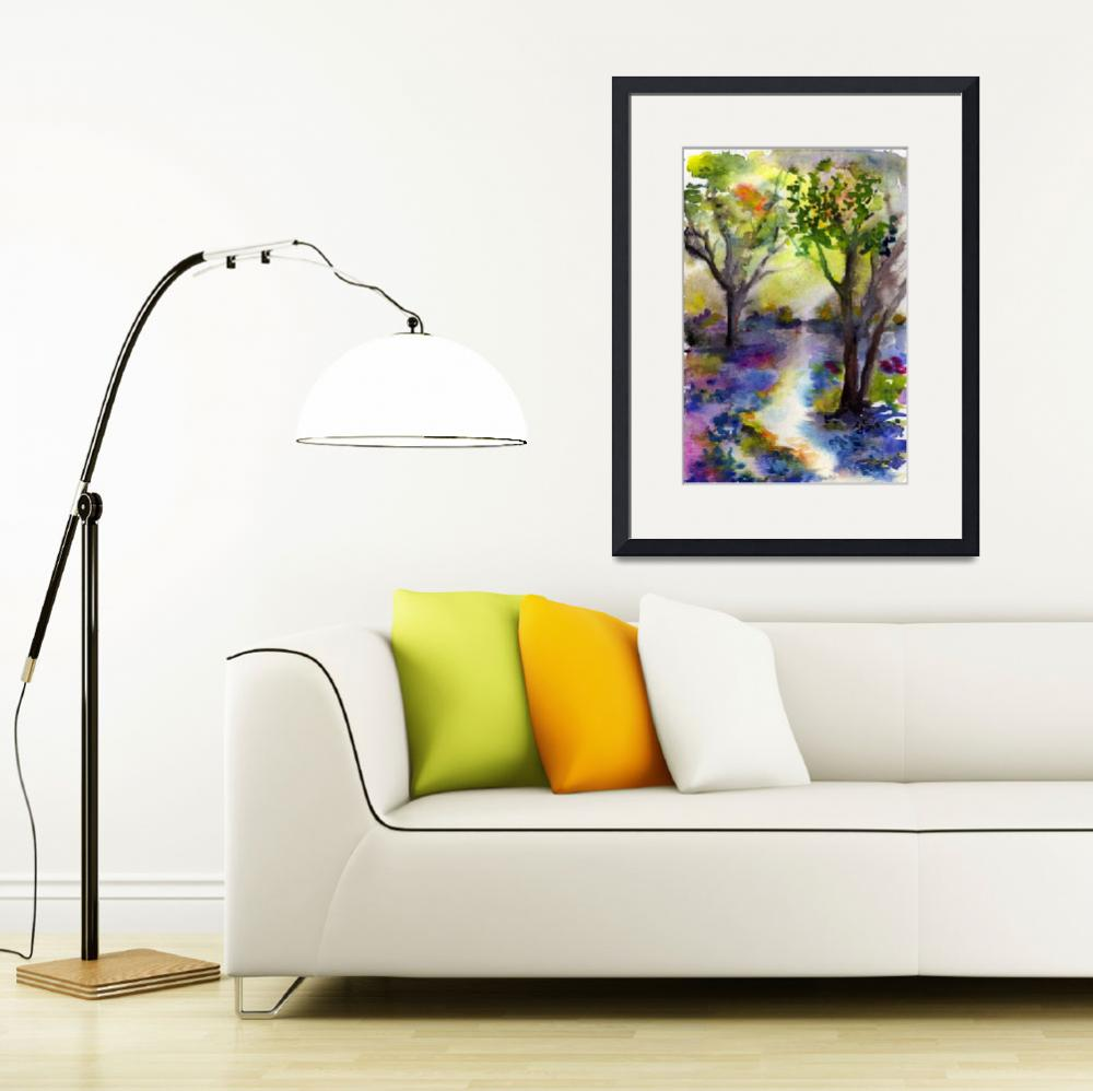 """Bluebell Forest Watercolor Painting by Ginette&quot  (2011) by GinetteCallaway"