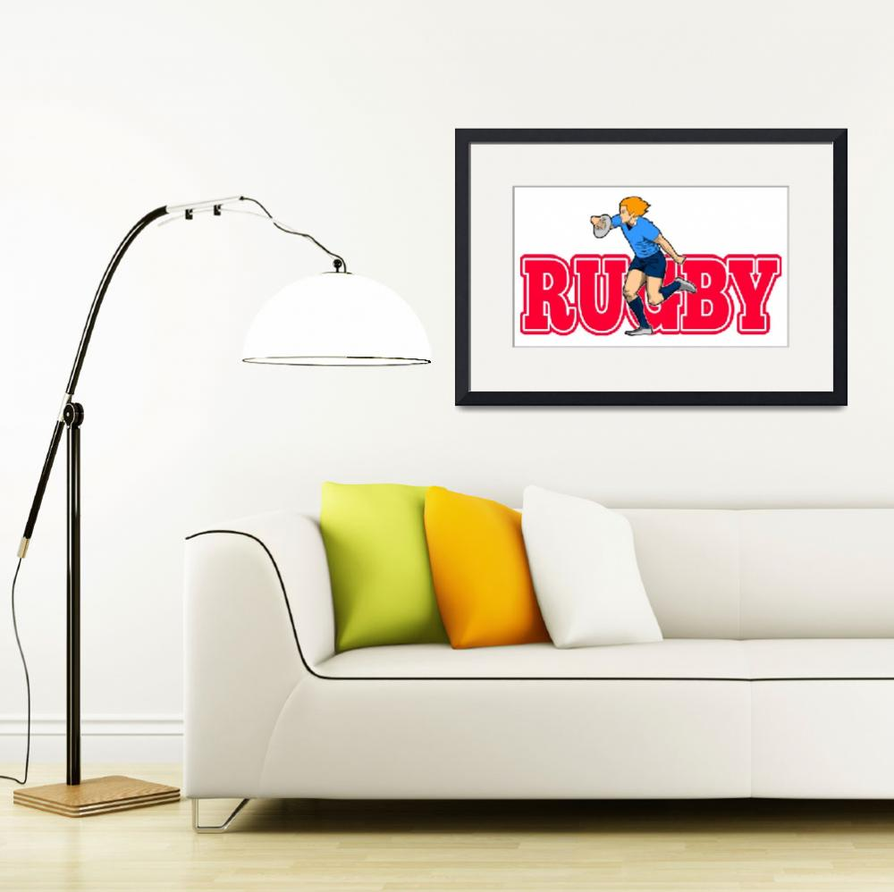 """rugby player running with ball&quot  (2013) by patrimonio"