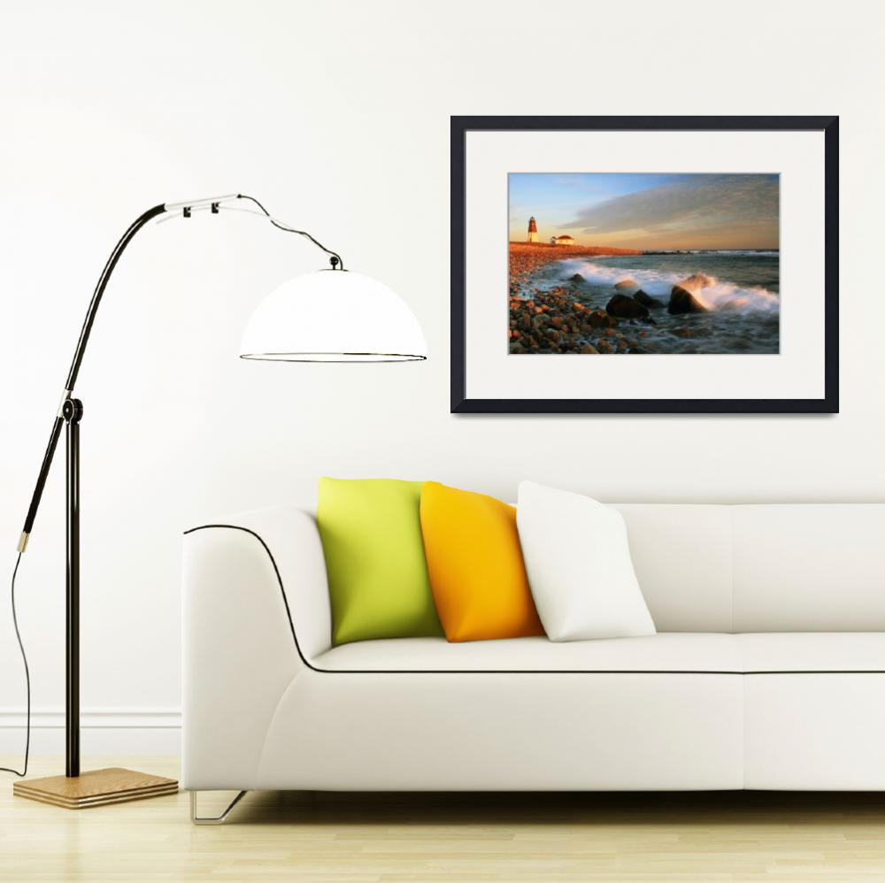 """Point Judith Rhode Island Lighthouse Seascape&quot  (2011) by RoupenBaker"