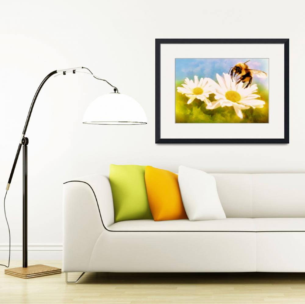 """Bumble Bee on Daisies&quot  (2015) by valzart"