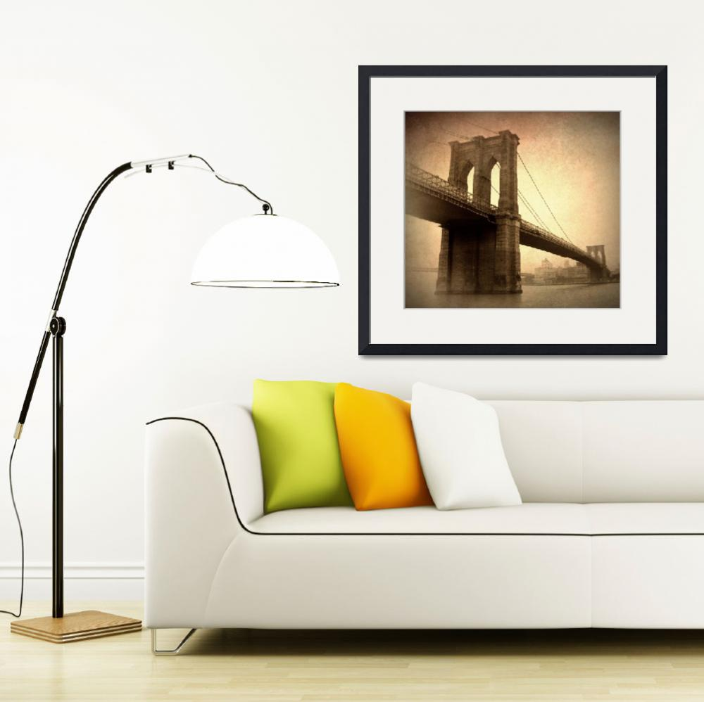 """Vintage Brooklyn Bridge&quot  (2014) by JessicaJenney"