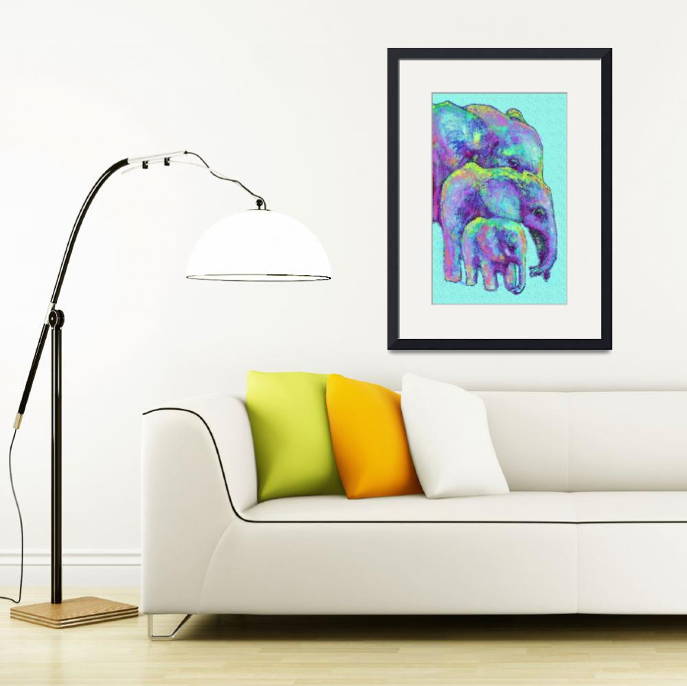 """elephant family in blue&quot  (2014) by pietrastone"