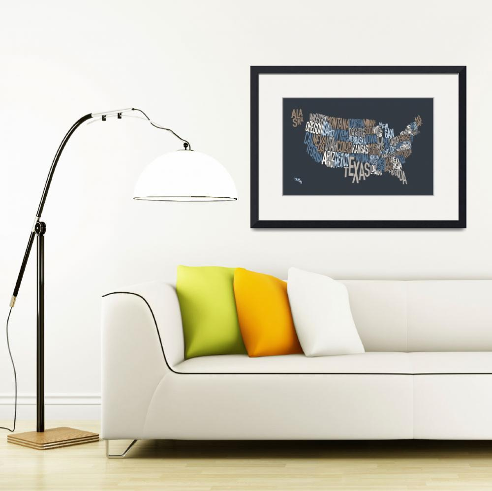 """United States Text Map&quot  (2010) by ModernArtPrints"